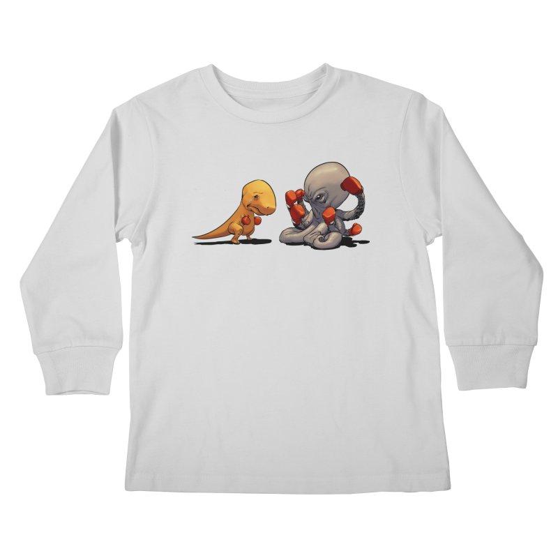 T-Rex vs Octopus Kids Longsleeve T-Shirt by weswongwithyou's Artist Shop