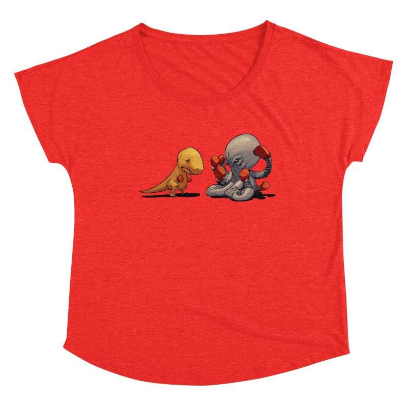 T-Rex vs Octopus Women's Scoop Neck by weswongwithyou's Artist Shop