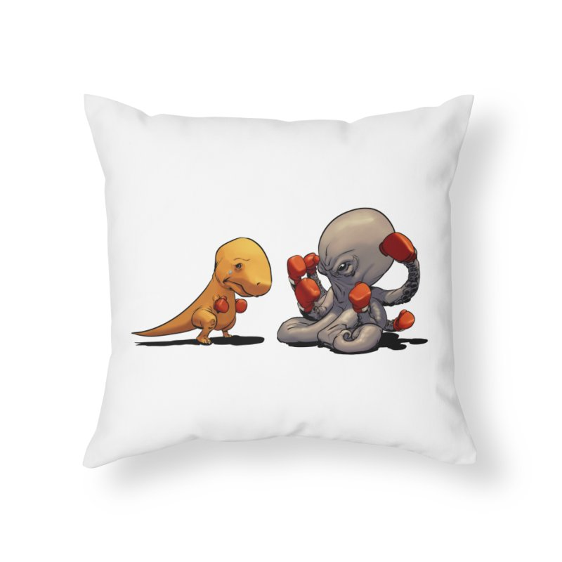 T-Rex vs Octopus Home Throw Pillow by weswongwithyou's Artist Shop
