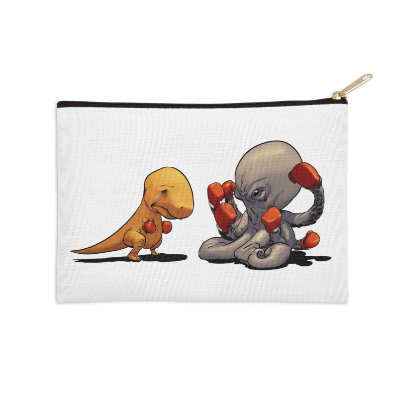 T-Rex vs Octopus Accessories Zip Pouch by weswongwithyou's Artist Shop