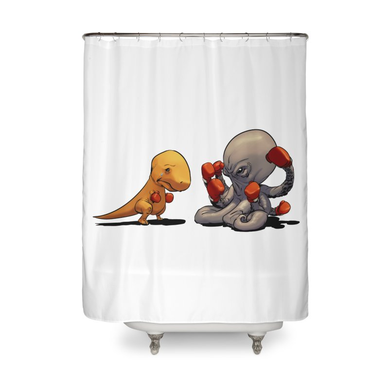 T-Rex vs Octopus Home Shower Curtain by weswongwithyou's Artist Shop