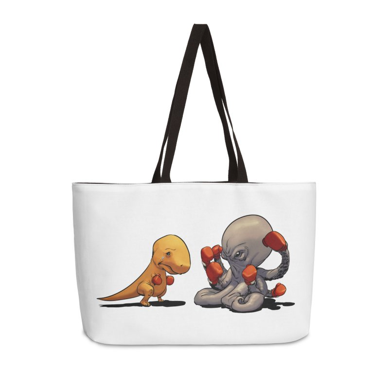 T-Rex vs Octopus Accessories Weekender Bag Bag by weswongwithyou's Artist Shop