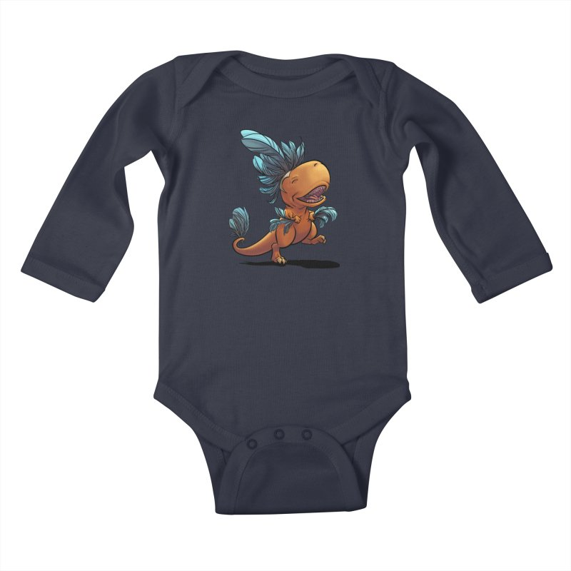 T-rex with feathers! Kids Baby Longsleeve Bodysuit by weswongwithyou's Artist Shop