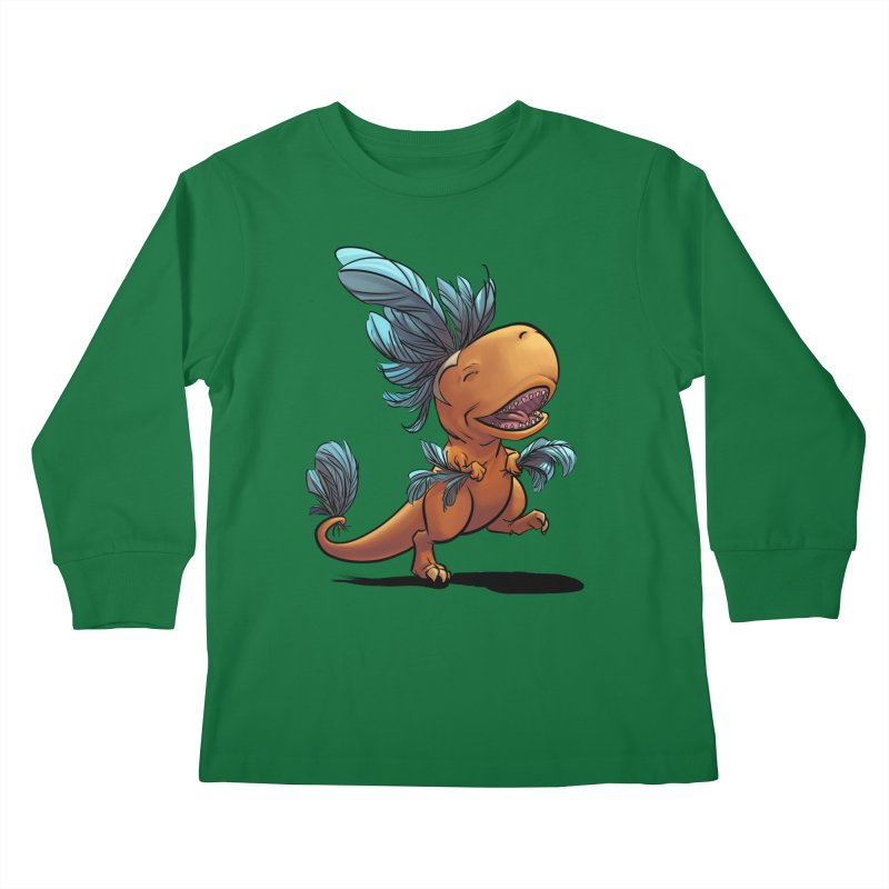 T-rex with feathers! Kids Longsleeve T-Shirt by weswongwithyou's Artist Shop