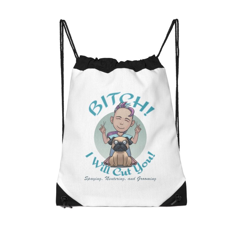 I Will Cut You! Accessories Drawstring Bag Bag by weswongwithyou's Artist Shop