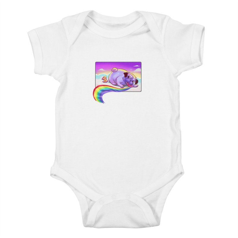 Magical Rainbow Pug Kids Baby Bodysuit by weswongwithyou's Artist Shop