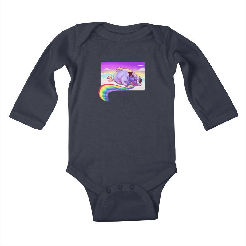 Magical Rainbow Pug Kids Baby Longsleeve Bodysuit by weswongwithyou's Artist Shop