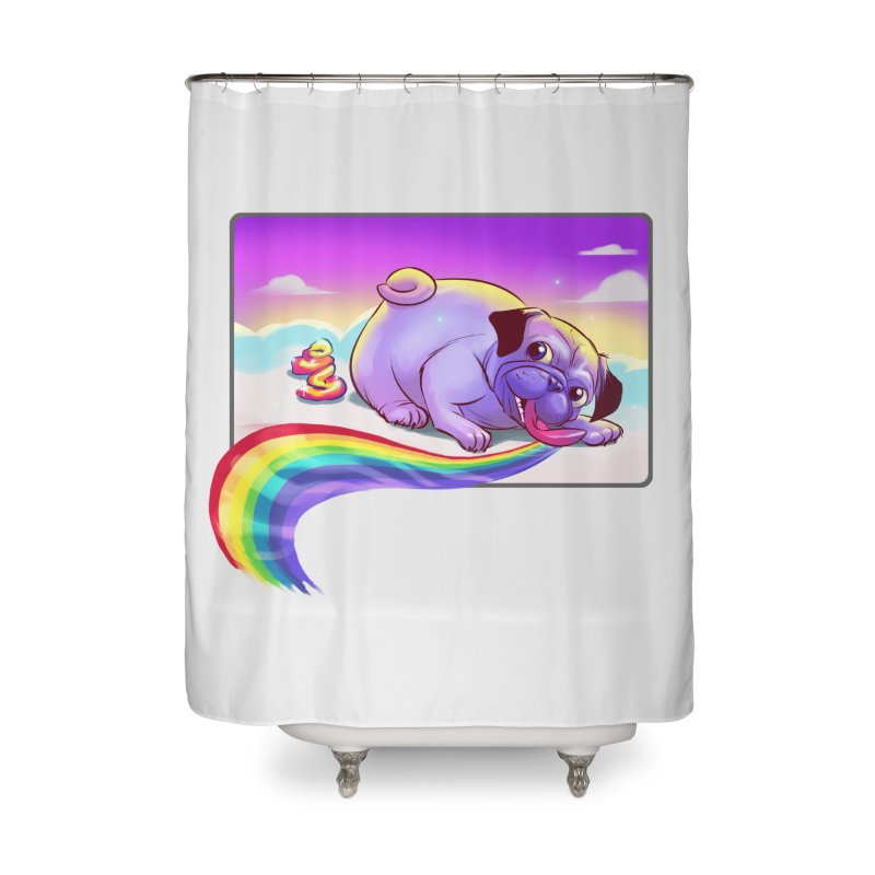 Magical Rainbow Pug Home Shower Curtain by weswongwithyou's Artist Shop
