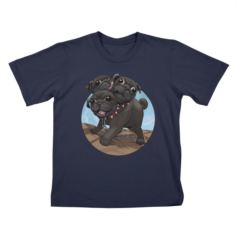 Pug Cerberus Black Version Kids T-Shirt by weswongwithyou's Artist Shop