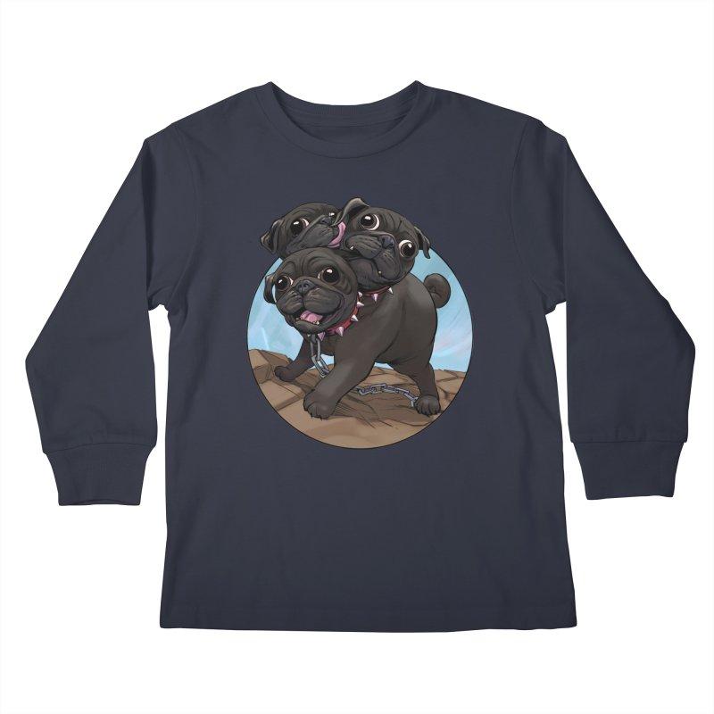 Pug Cerberus Black Version Kids Longsleeve T-Shirt by weswongwithyou's Artist Shop