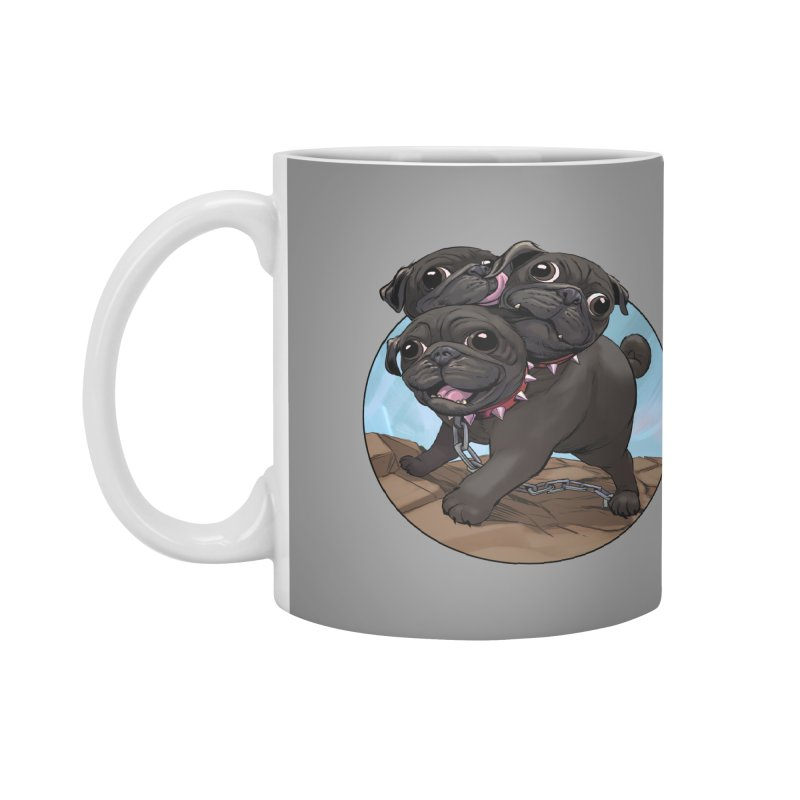 Pug Cerberus Black Version Accessories Mug by weswongwithyou's Artist Shop