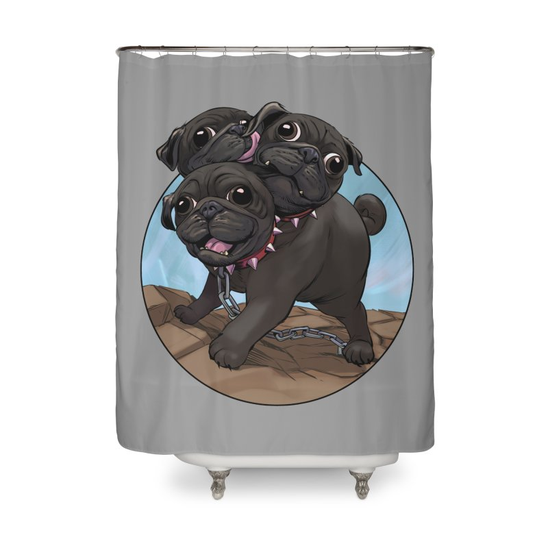 Pug Cerberus Black Version Home Shower Curtain by weswongwithyou's Artist Shop