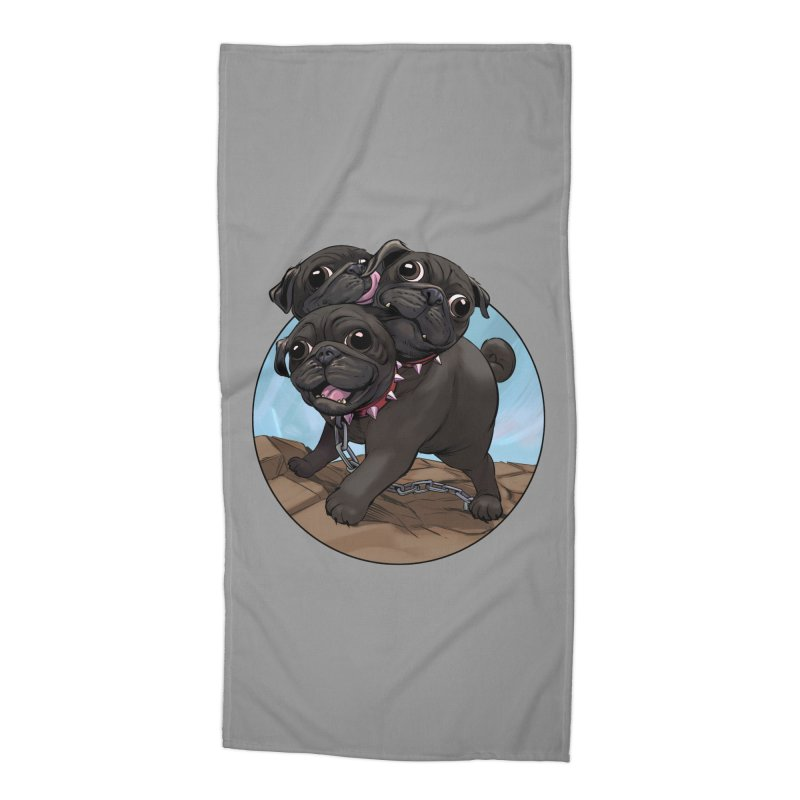 Pug Cerberus Black Version Accessories Beach Towel by weswongwithyou's Artist Shop