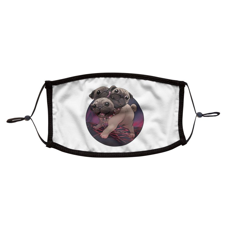 Pug Cerberus Fawn Version Accessories Face Mask by weswongwithyou's Artist Shop