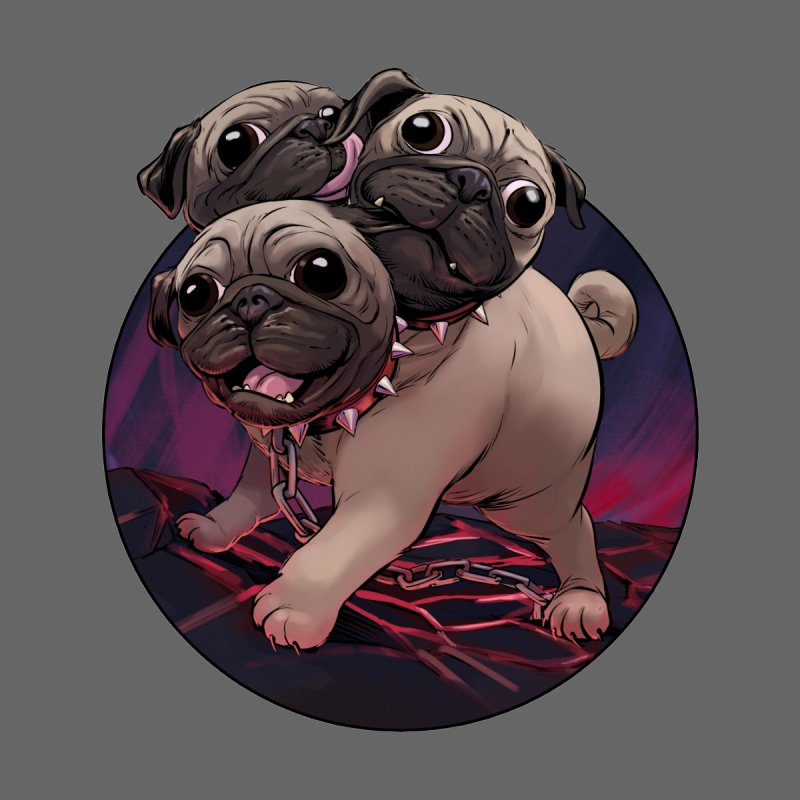 Pug Cerberus Fawn Version Men's T-Shirt by weswongwithyou's Artist Shop