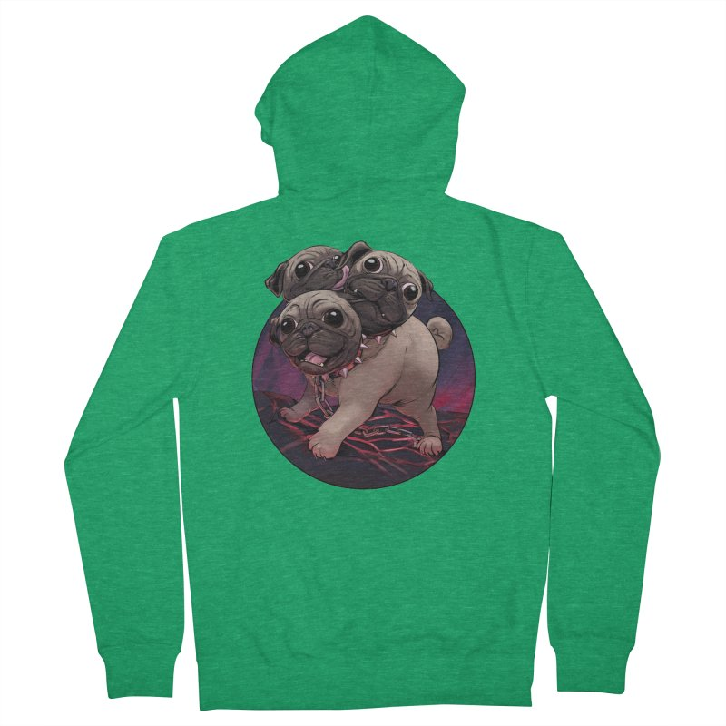 Pug Cerberus Fawn Version Men's Zip-Up Hoody by weswongwithyou's Artist Shop