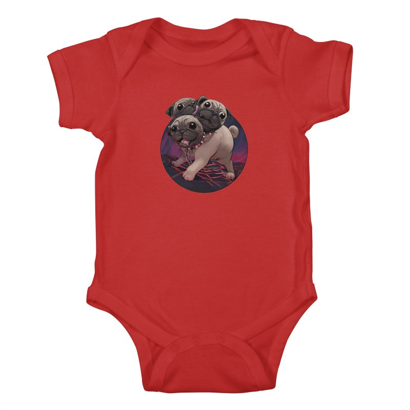 Pug Cerberus Fawn Version Kids Baby Bodysuit by weswongwithyou's Artist Shop