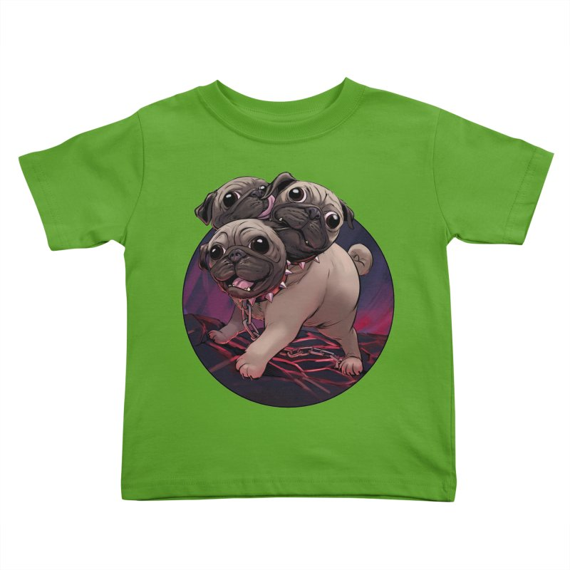 Pug Cerberus Fawn Version Kids Toddler T-Shirt by weswongwithyou's Artist Shop