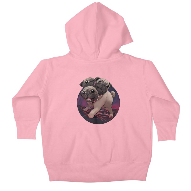 Pug Cerberus Fawn Version Kids Baby Zip-Up Hoody by weswongwithyou's Artist Shop