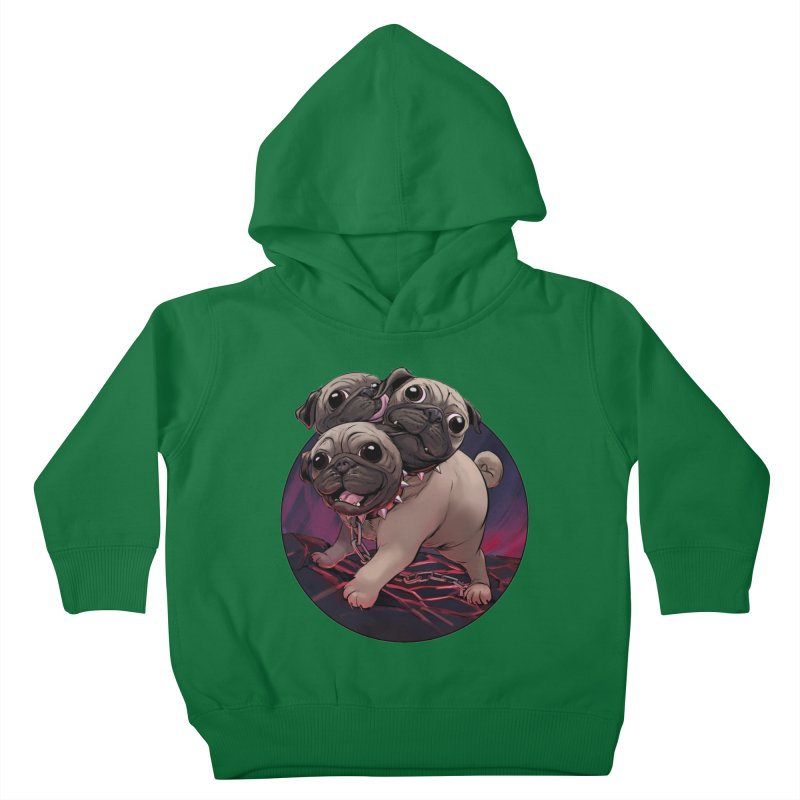Pug Cerberus Fawn Version Kids Toddler Pullover Hoody by weswongwithyou's Artist Shop