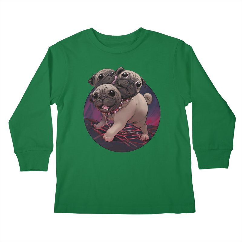 Pug Cerberus Fawn Version Kids Longsleeve T-Shirt by weswongwithyou's Artist Shop