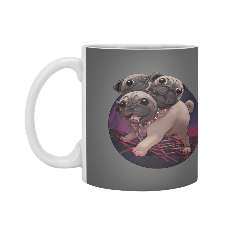 Pug Cerberus Fawn Version Accessories Mug by weswongwithyou's Artist Shop