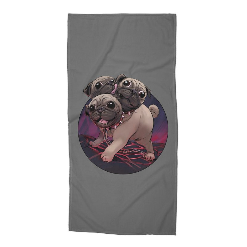Pug Cerberus Fawn Version Accessories Beach Towel by weswongwithyou's Artist Shop