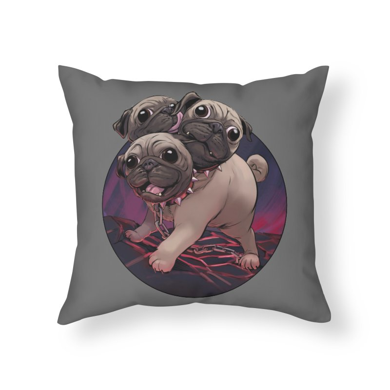 Pug Cerberus Fawn Version Home Throw Pillow by weswongwithyou's Artist Shop