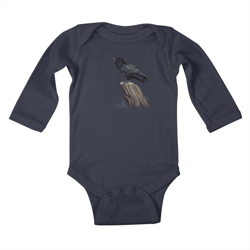 Raven Kids Baby Longsleeve Bodysuit by weswongwithyou's Artist Shop