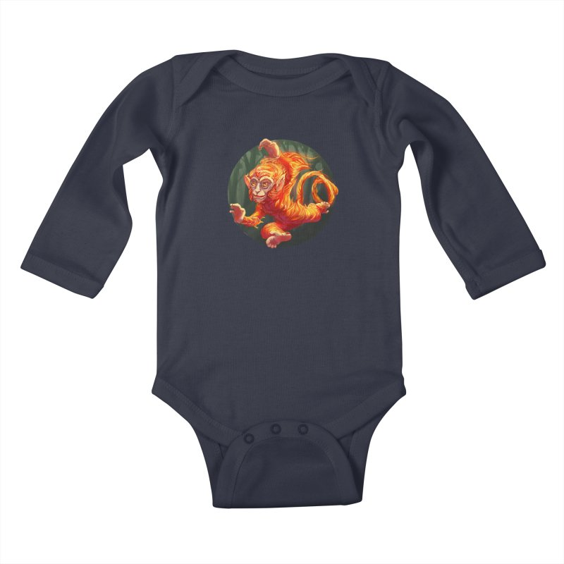 Year of the Fire Monkey Kids Baby Longsleeve Bodysuit by weswongwithyou's Artist Shop