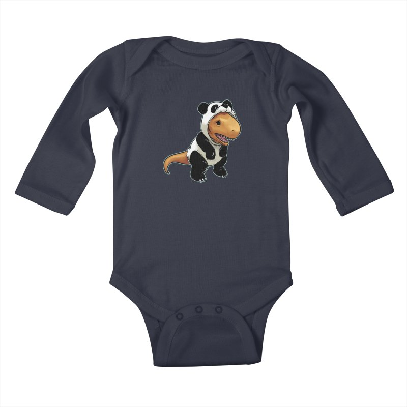 Panda-Suited Rex Kids Baby Longsleeve Bodysuit by weswongwithyou's Artist Shop