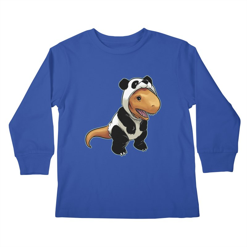Panda-Suited Rex Kids Longsleeve T-Shirt by weswongwithyou's Artist Shop