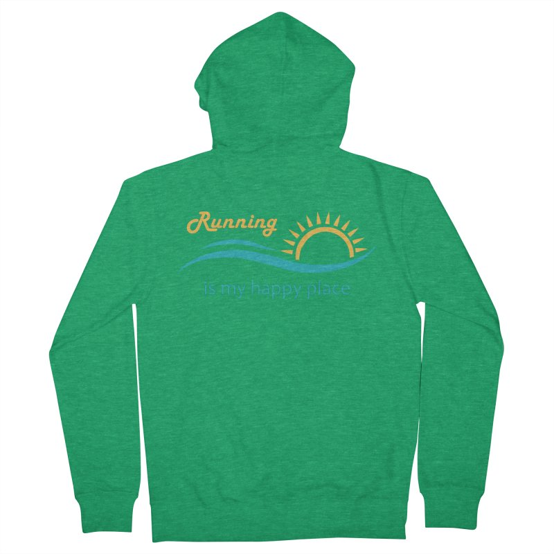 Shirt - Running is my Happy Place Men's Zip-Up Hoody by Wet Silver's Artist Shop