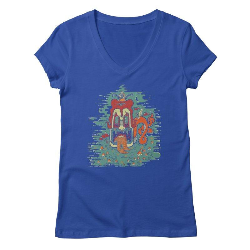 Serpiente Women's V-Neck by wetzka's Artist Shop