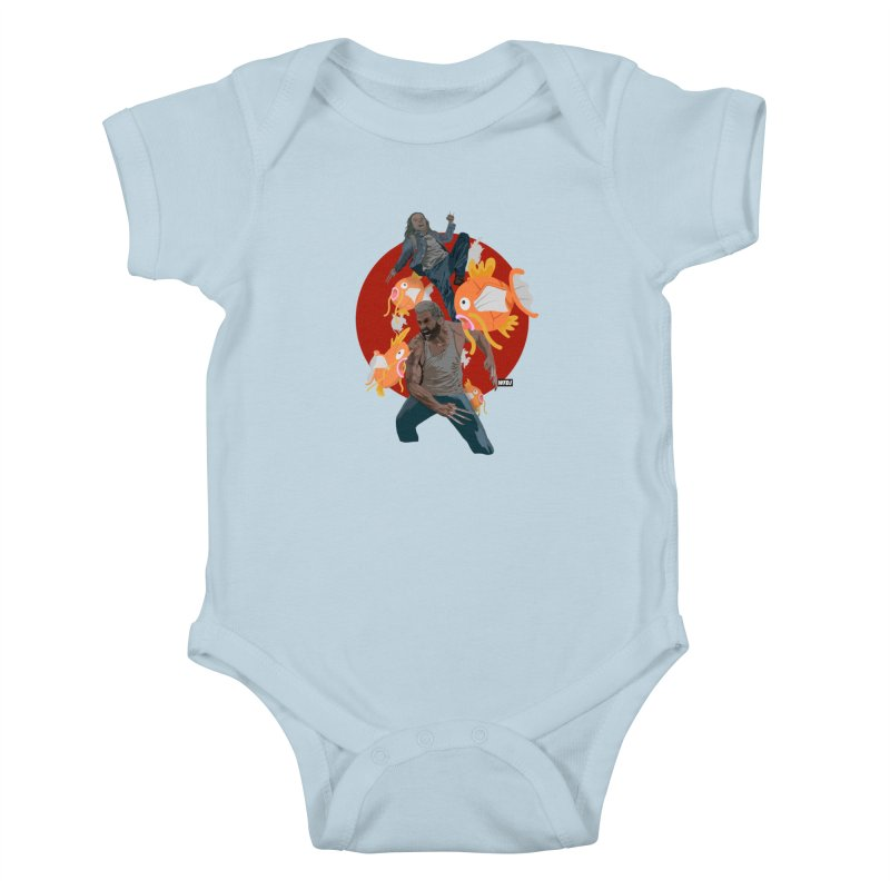 Father, Child, Fish Kids Baby Bodysuit by World Famous Design Junkies