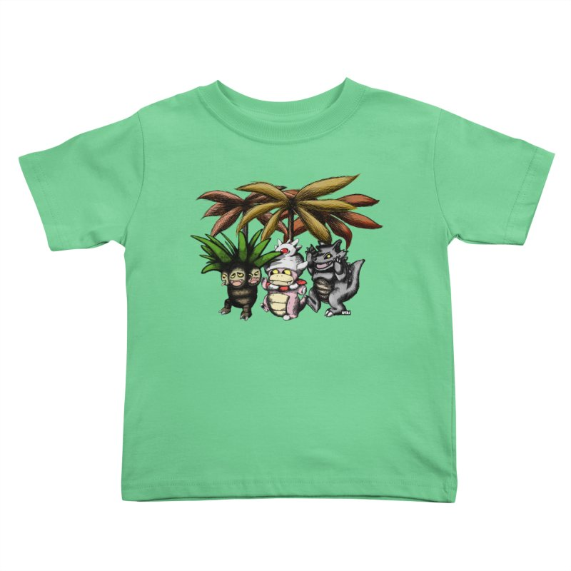 Wild Monster Capture Rumpus Kids Toddler T-Shirt by World Famous Design Junkies