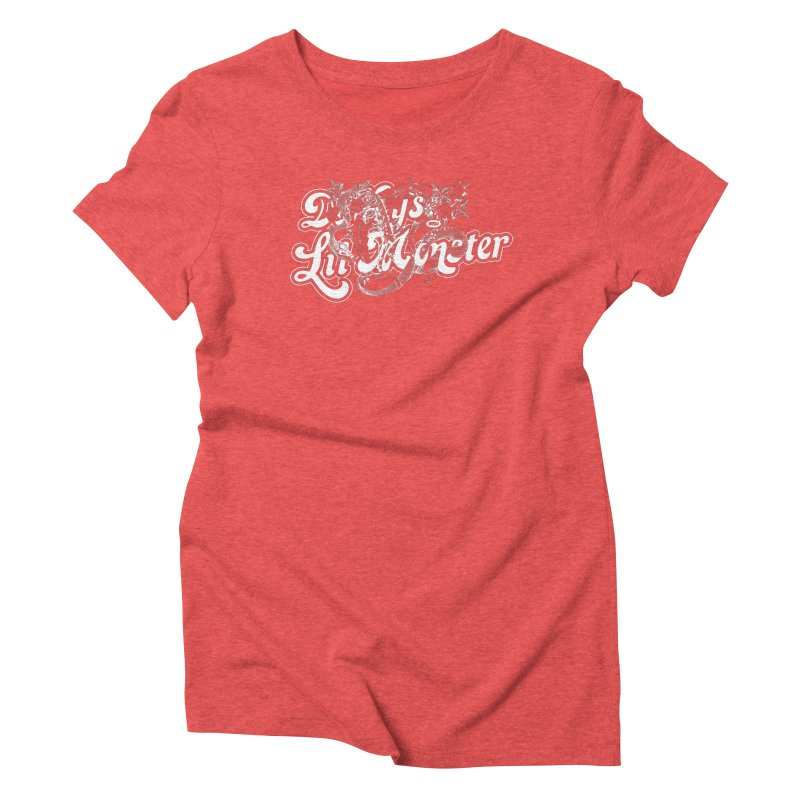 Lil' Monster WHITE Women's Triblend T-shirt by World Famous Design Junkies