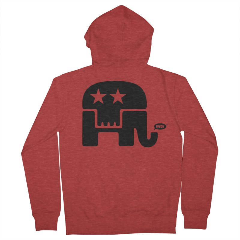 Party of Death [ Republican Elephant Skull ] Men's French Terry Zip-Up Hoody by World Famous Design Junkies