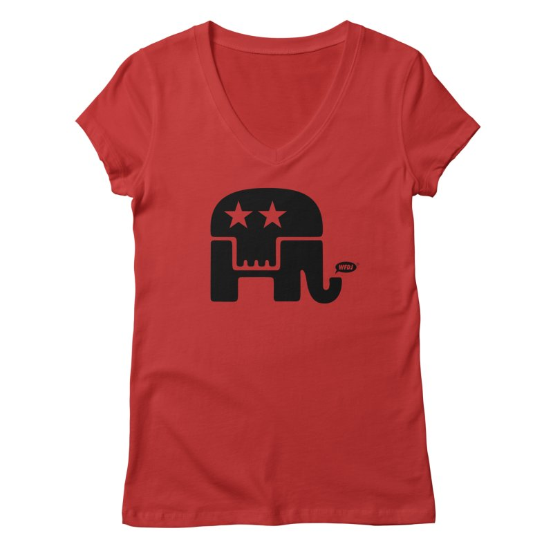 Party of Death [ Republican Elephant Skull ] Women's V-Neck by World Famous Design Junkies