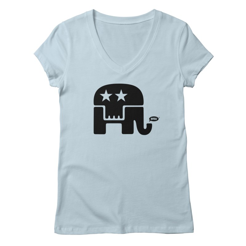 Party of Death [ Republican Elephant Skull ] Women's Regular V-Neck by World Famous Design Junkies