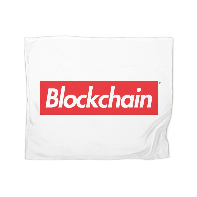 Blockchain box logo Home Fleece Blanket by World Famous Design Junkies