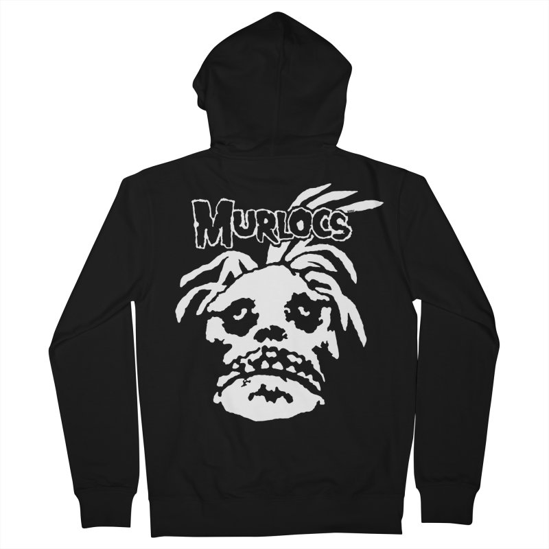 Murloc Misfits black and white Men's French Terry Zip-Up Hoody by World Famous Design Junkies