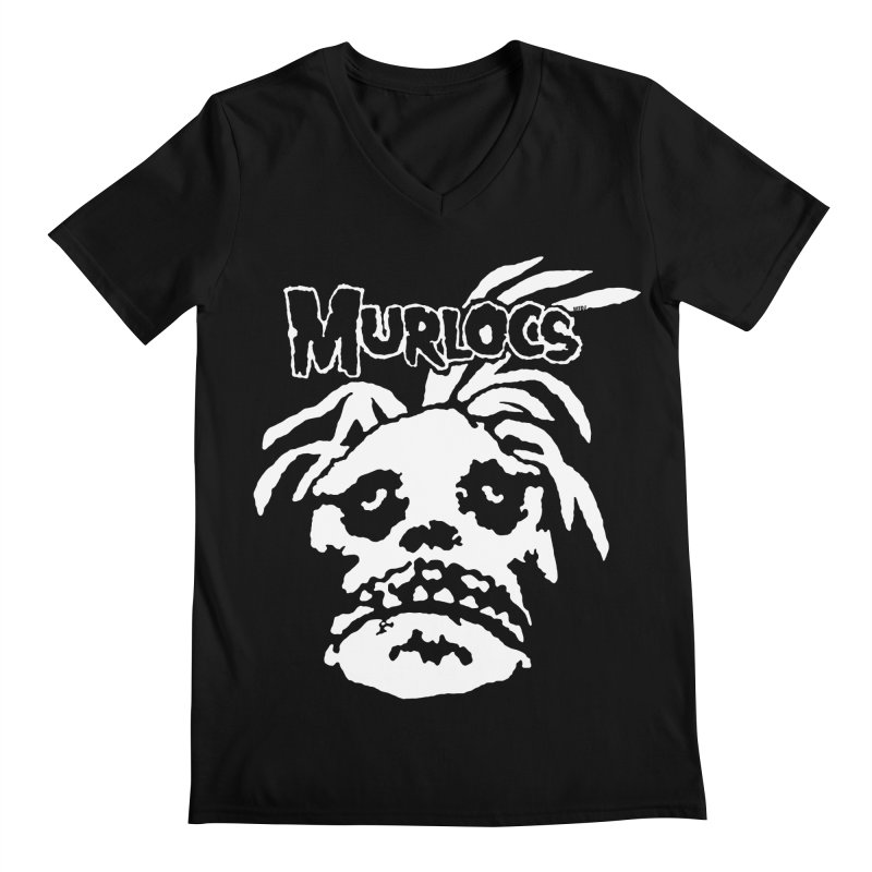 Murloc Misfits black and white Men's V-Neck by World Famous Design Junkies