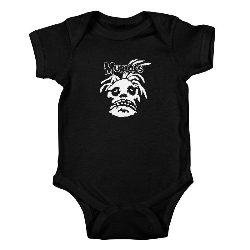 Murloc Misfits black and white Kids Baby Bodysuit by World Famous Design Junkies