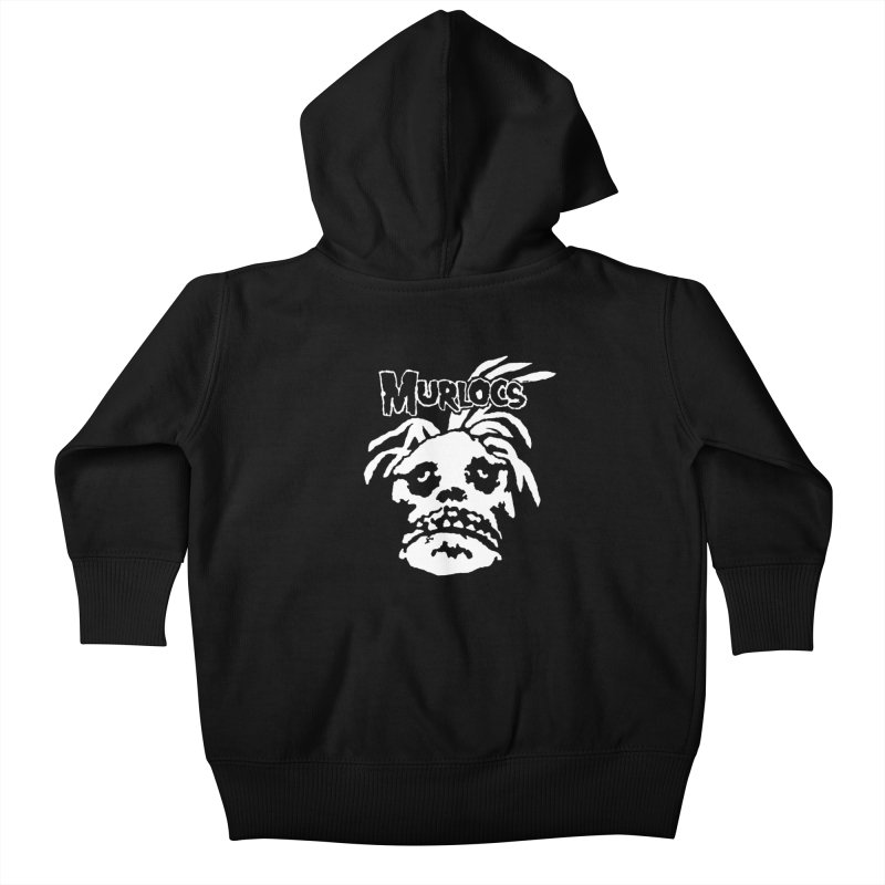 Murloc Misfits black and white Kids Baby Zip-Up Hoody by World Famous Design Junkies