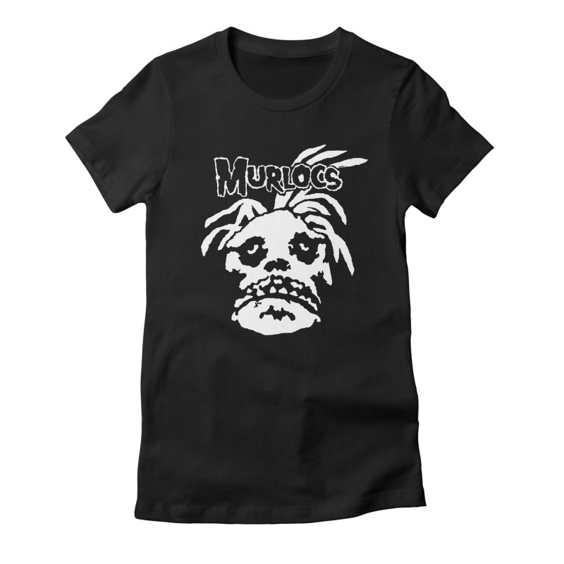 Murloc Misfits black and white Women's Fitted T-Shirt by World Famous Design Junkies