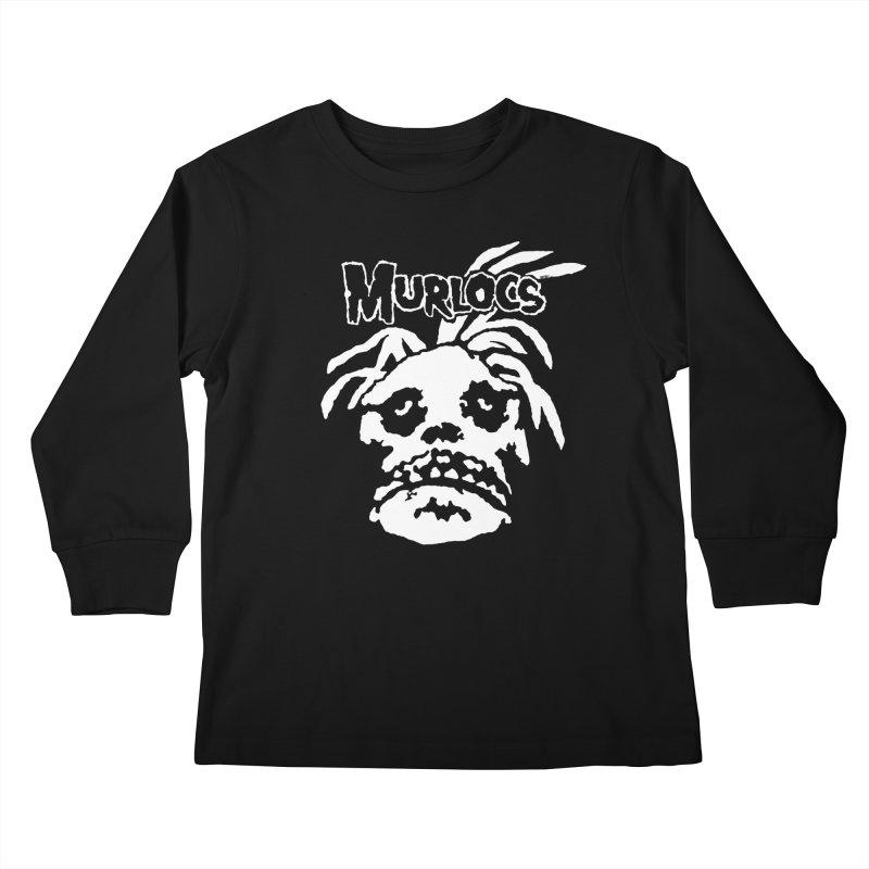 Murloc Misfits black and white Kids Longsleeve T-Shirt by World Famous Design Junkies