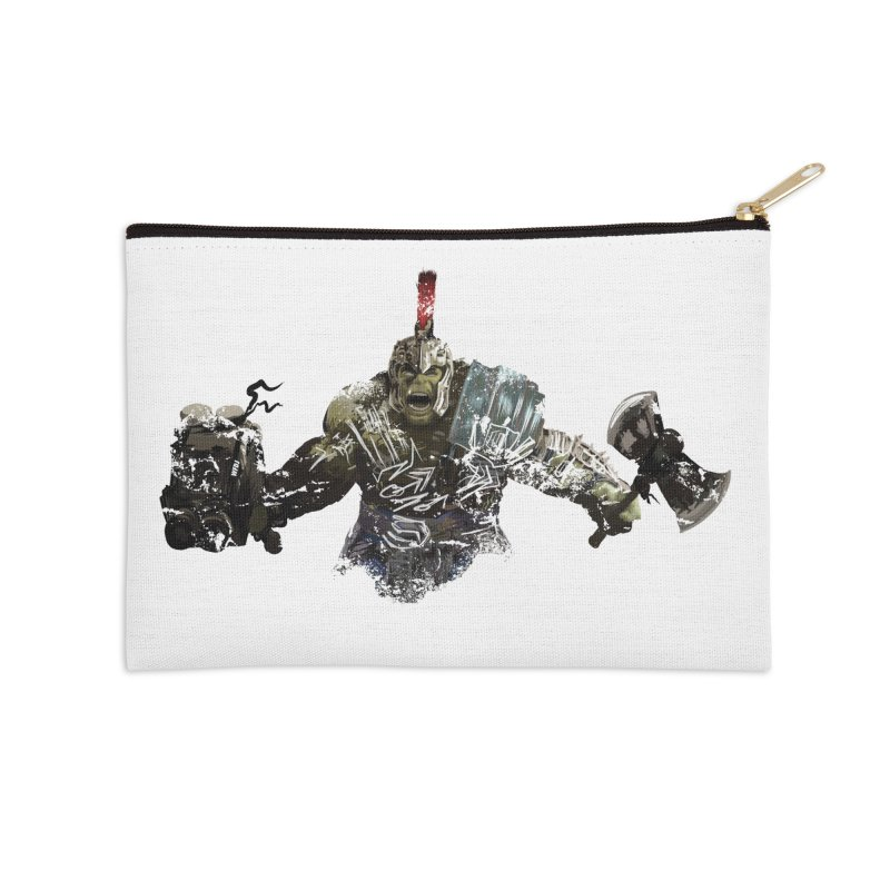 Green Gladiator Guy Accessories Zip Pouch by World Famous Design Junkies