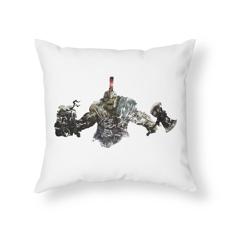 Green Gladiator Guy Home Throw Pillow by World Famous Design Junkies