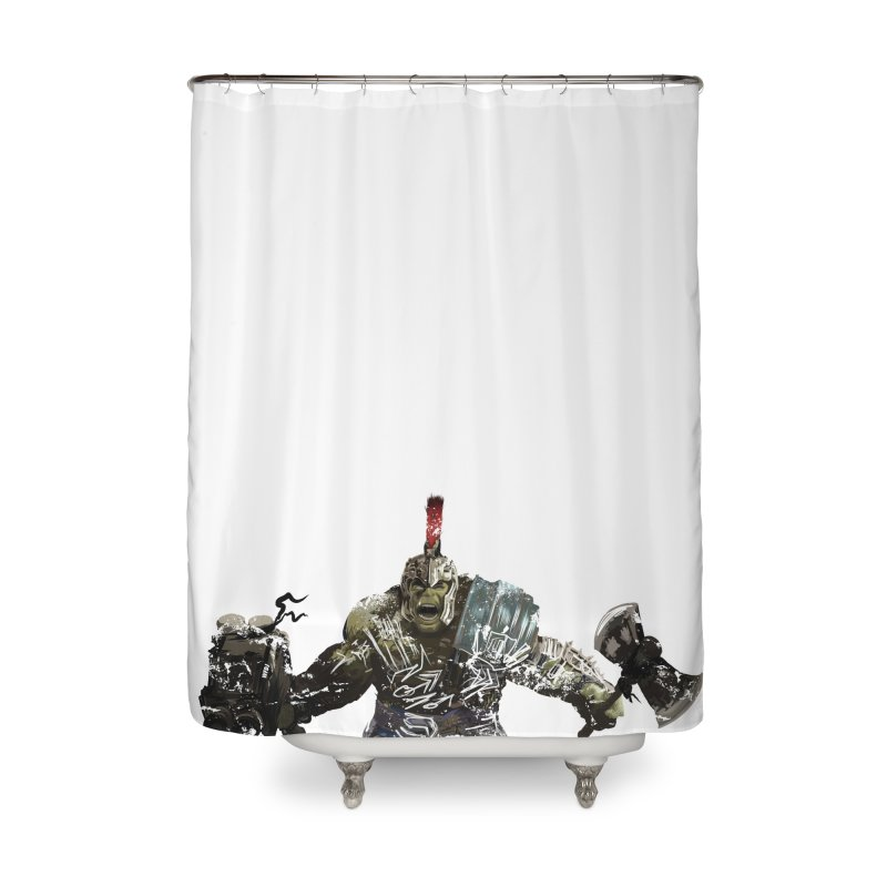 Green Gladiator Guy Home Shower Curtain by World Famous Design Junkies